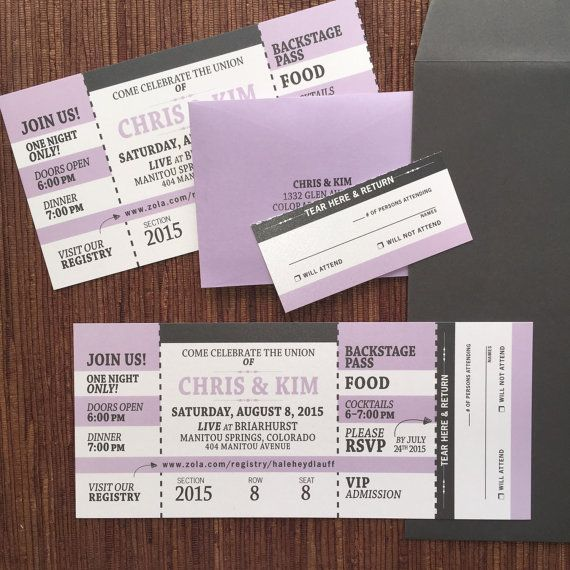 Concert Ticket Invitation with RSVP tear-off stub \/ Wedding - concert ticket invitations template