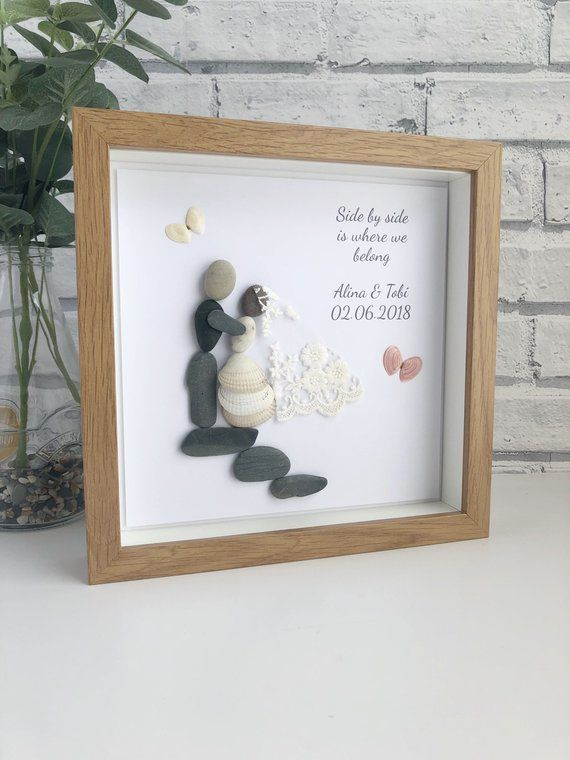 Photo of Wedding picture frame, Wedding Pebble Picture, Personalised wedding picture, Wedding Gift, Wedding frame gift