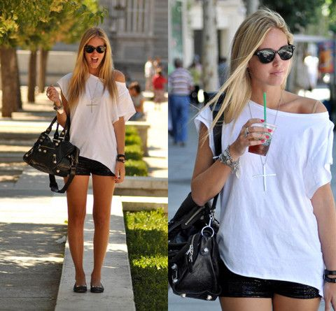 First day in Madrid, with sequins shorts (by Chiara Ferragni)