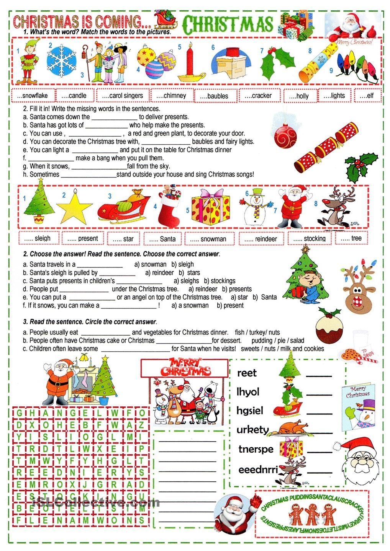 a Xmas cloze Christmas worksheets, Christmas lesson