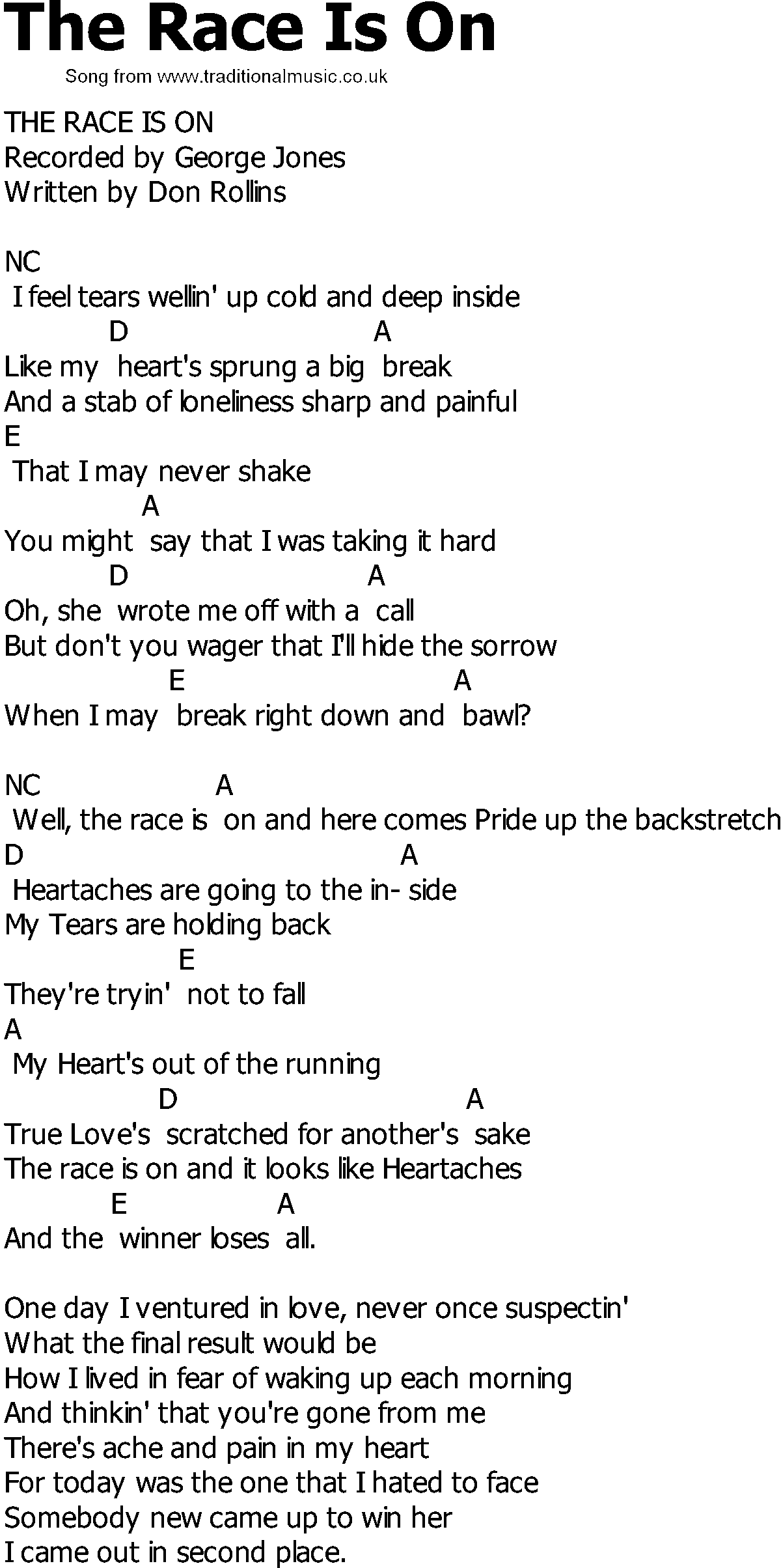 Old Country Song Lyrics With Chords The Race Is On Guitar Music