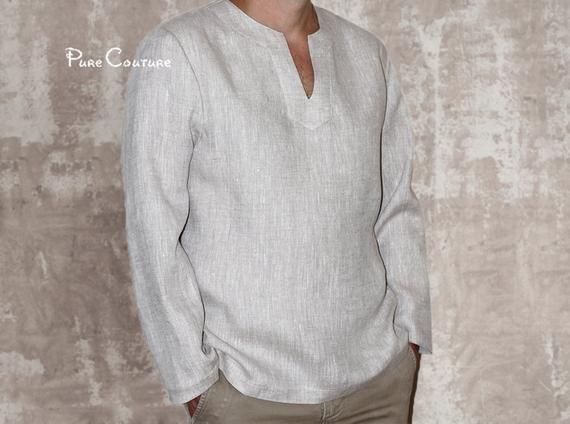 Linen Shirt Men 100 Linen Shirt Casual Shirt Mens Long Sleeve Linen Shirt Linen Beach Shirt Lin Casual Shirts Shirts Beach Shirts