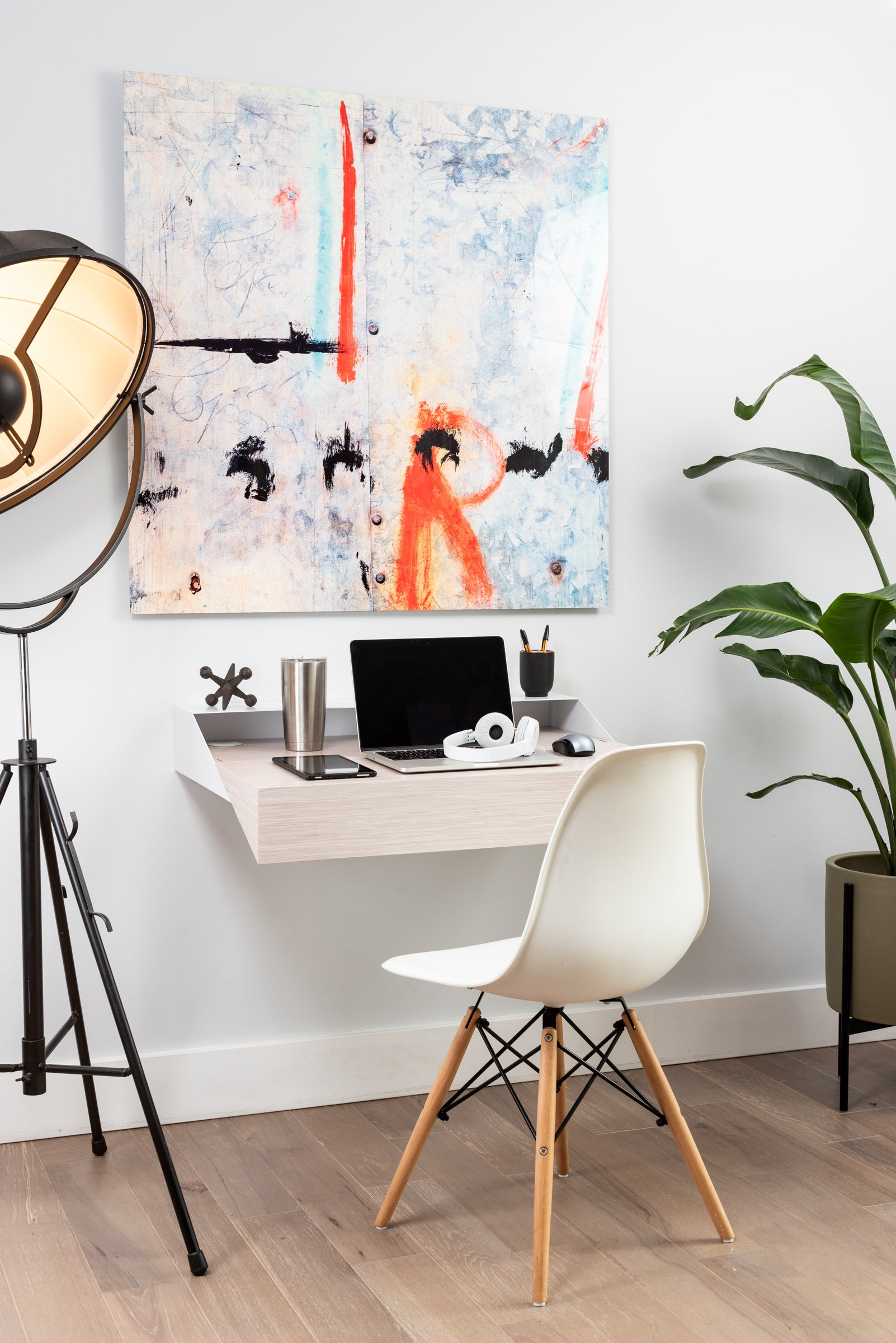 Hideaway Wall Shelf and Desk Rift Oak Expandable