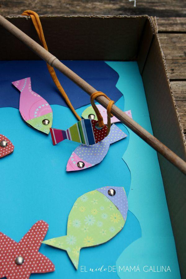 Diy Juego De Pesca Reciclando Una Caja De Cartón Diogeneras Juegos De Pesca Juegos De Pesca Para Niños Reciclado Para Niños