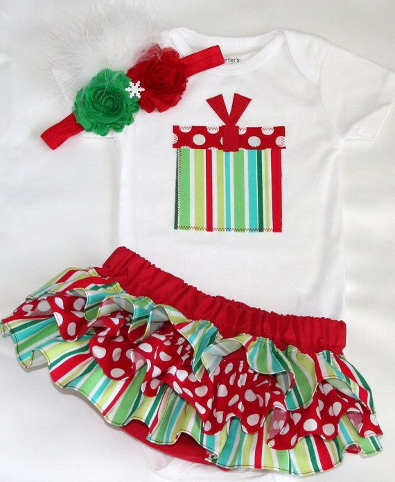 SHORT SLEEVE Christmas white red and green striped and polka dot present  onesie ruffle bloomers diaper cover w matching shabby chiffon roset. de0aec3ff