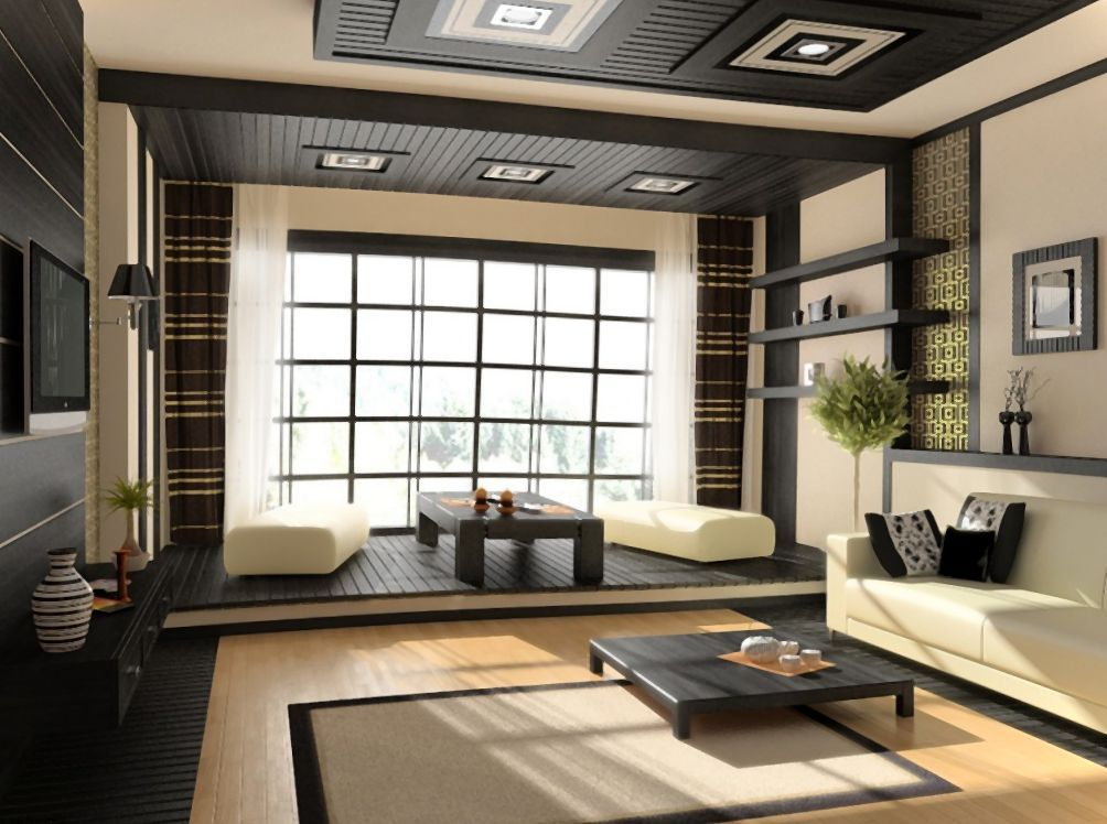House Modern Japanese Interior Design Ideas For Living Room With Black Color Schemes Architecture Prefer To Save Electricity