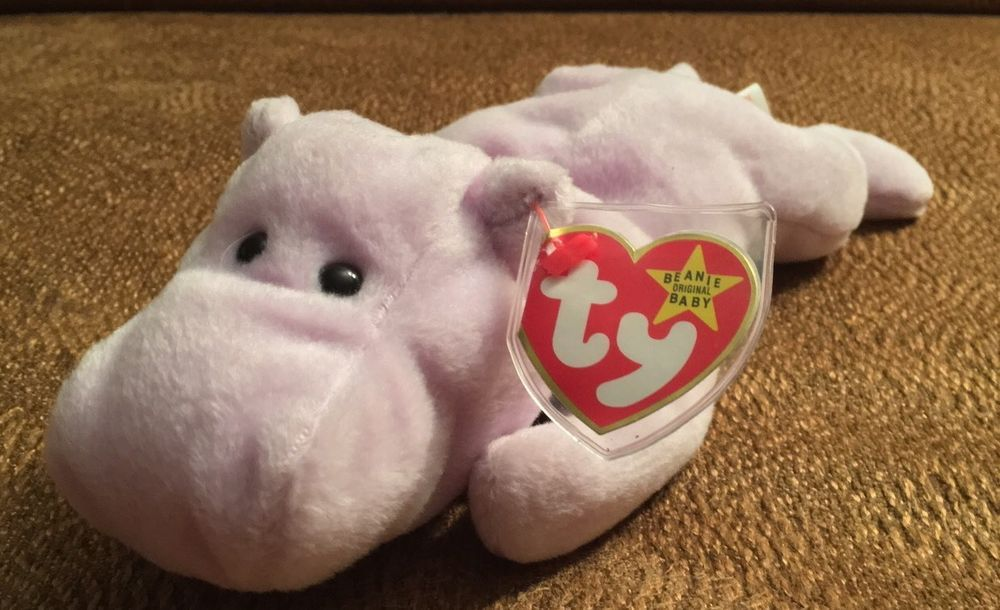e4df36066d9 Rare Mint Happy Lavender Hippo TY Beanie Baby Errors On Hang Tag  Ty ...