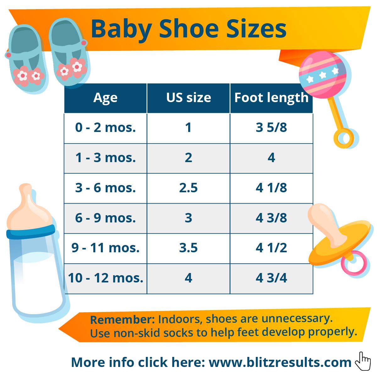 Baby shoe size chart