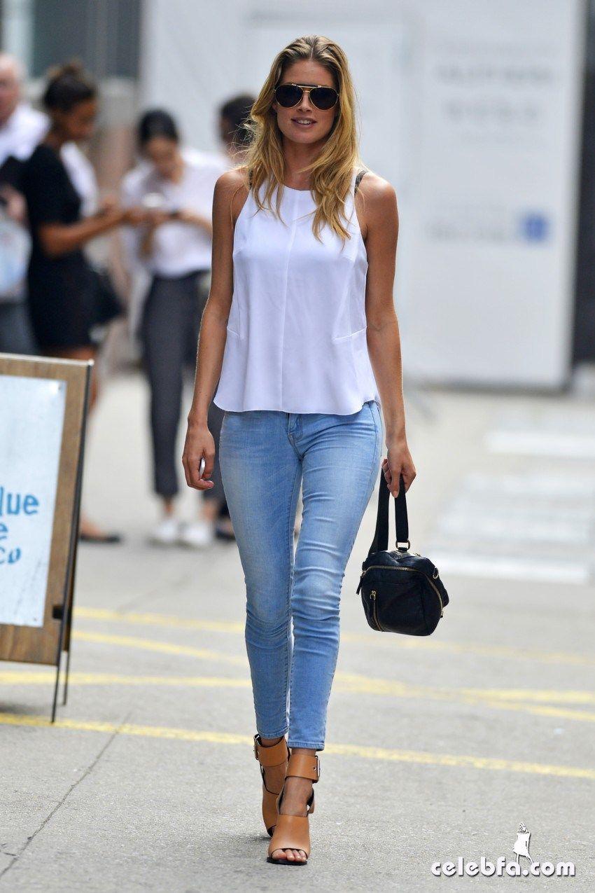 White Top, Light Blue Jeans, Camel Sandals and Black Handbag
