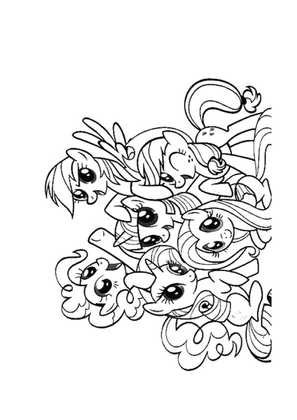 print coloring image Pony, Adult coloring and Free printables - best of coloring pages of rainbows to print