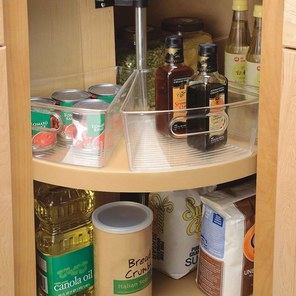 26 Things That Ll Actually Help You Keep Your Kitchen Organized In 2020 In 2020 Kitchen Storage Hacks Corner Kitchen Cabinet Kitchen Cabinet Organization