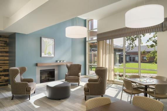 Crave Id Fairwarys Dementia Care Home Lounge And Dining Room Healthcare Interior Design Hospital Interior Design Assisted Living Decor