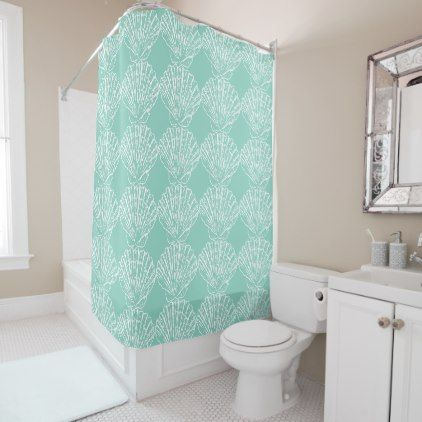 White Nautical Seashell On Seafoam Green Shower Curtain