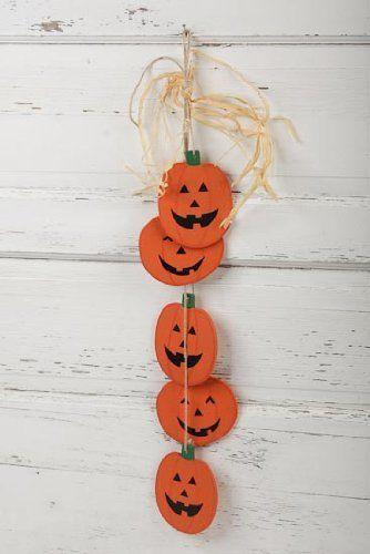 Multiple Wood Jack O Lantern Pumpkins Dangling Wall or Door