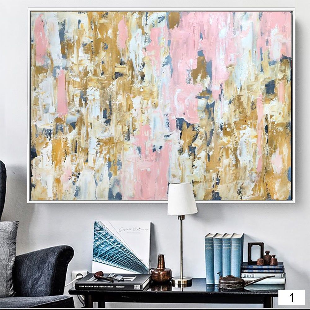 Pink Gold Wall Art Original Abstract Painting Framed Ready To