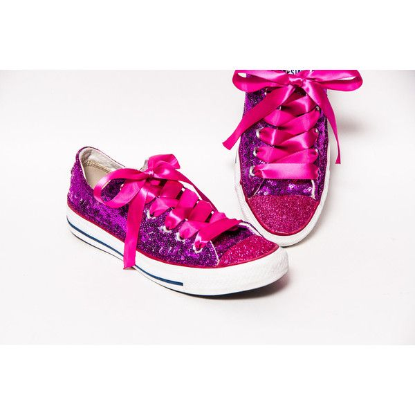 8f00f44a91df Tiny Sequin Starlight Hot Fuchsia Pink Converse Canvas Low Top... ($135) ❤  liked on Polyvore featuring shoes, sneakers, light purple, sneakers &  athletic ...