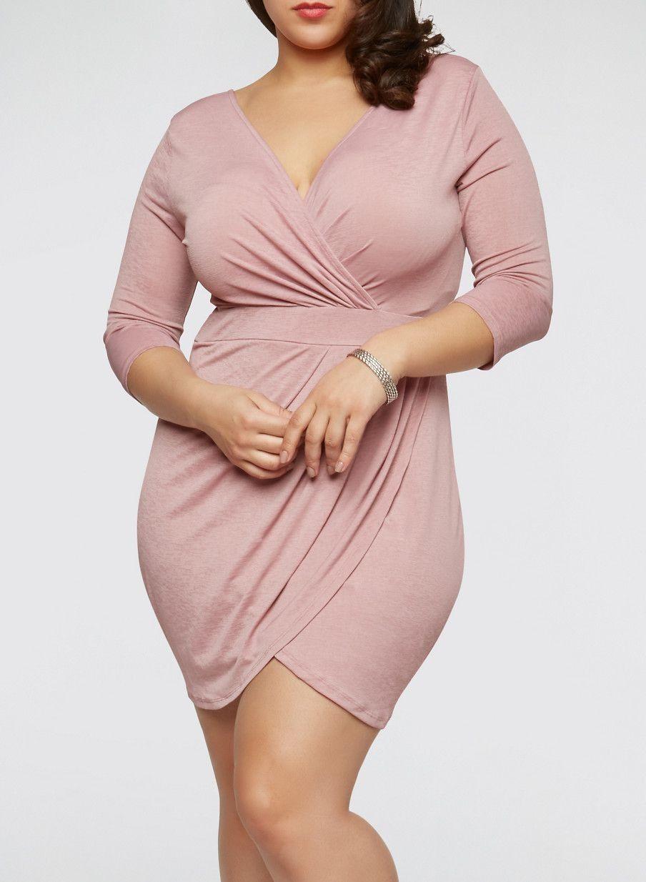 Plus Size Ruched Faux Wrap Dress - Rainbow Shops Edit ...