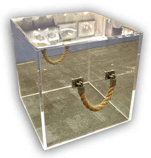 Lucite Cube with Rope