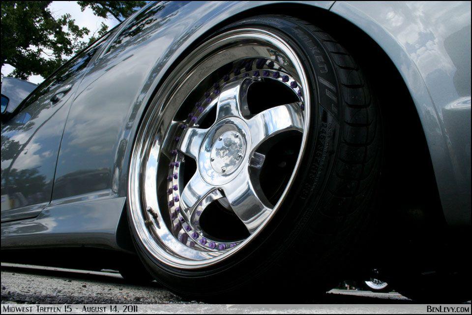 Platinum Urban Grey Volkswagen GTI. chrome wheels with purple rivets ...