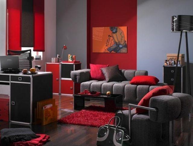Jugendzimmer Ideen Deko Junge Dunkelgrau Rot Musikfan