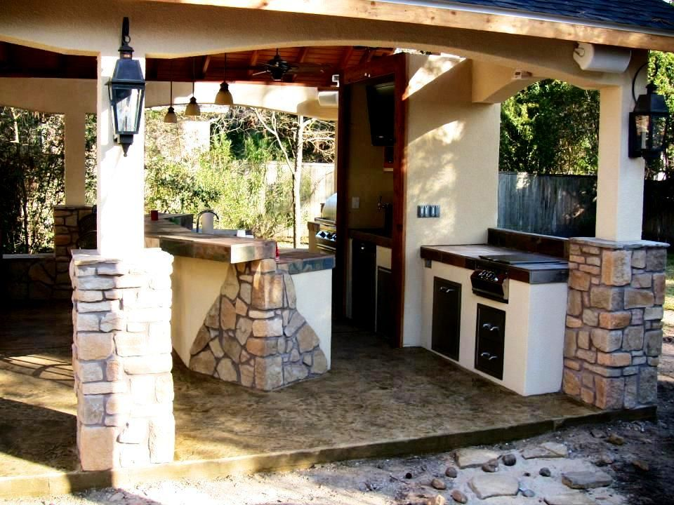 Covered Outdoor Kitchens In Houston Texas By Outdoor Homescapes Covered Outdoor Kitchens Outdoor Kitchen