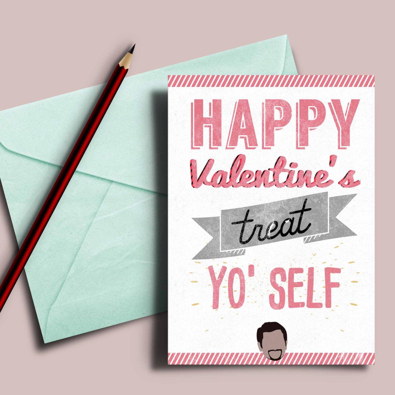 new to designgenesstudio on etsy printable valentines day card happy valentines treat yo self - Etsy Valentines Day Cards