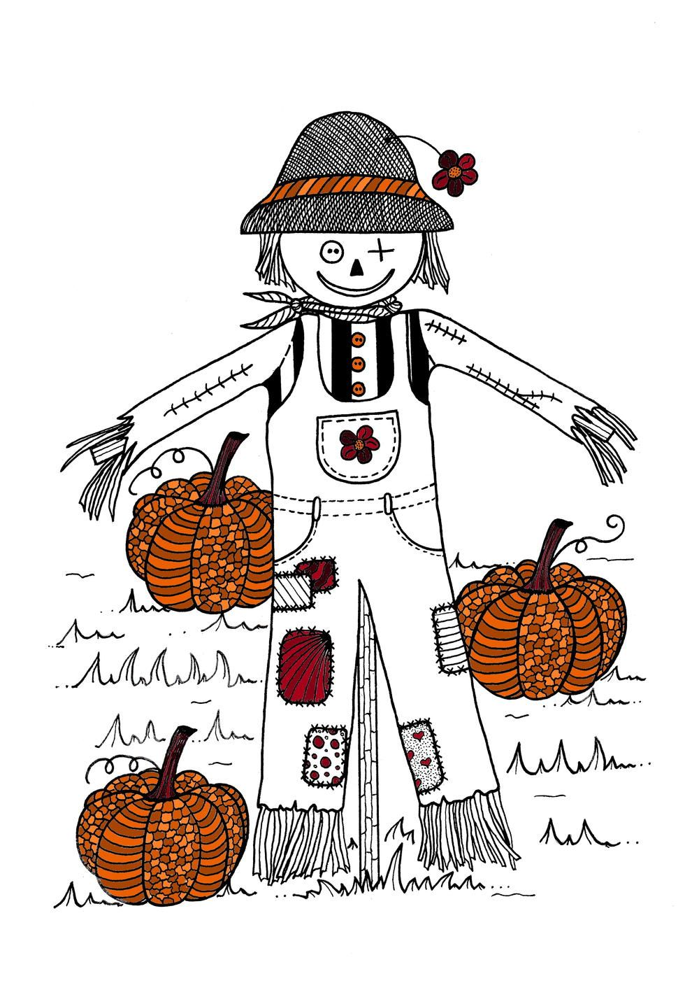 Scarecrow in Pumpkin Field Adult Coloring Page (With
