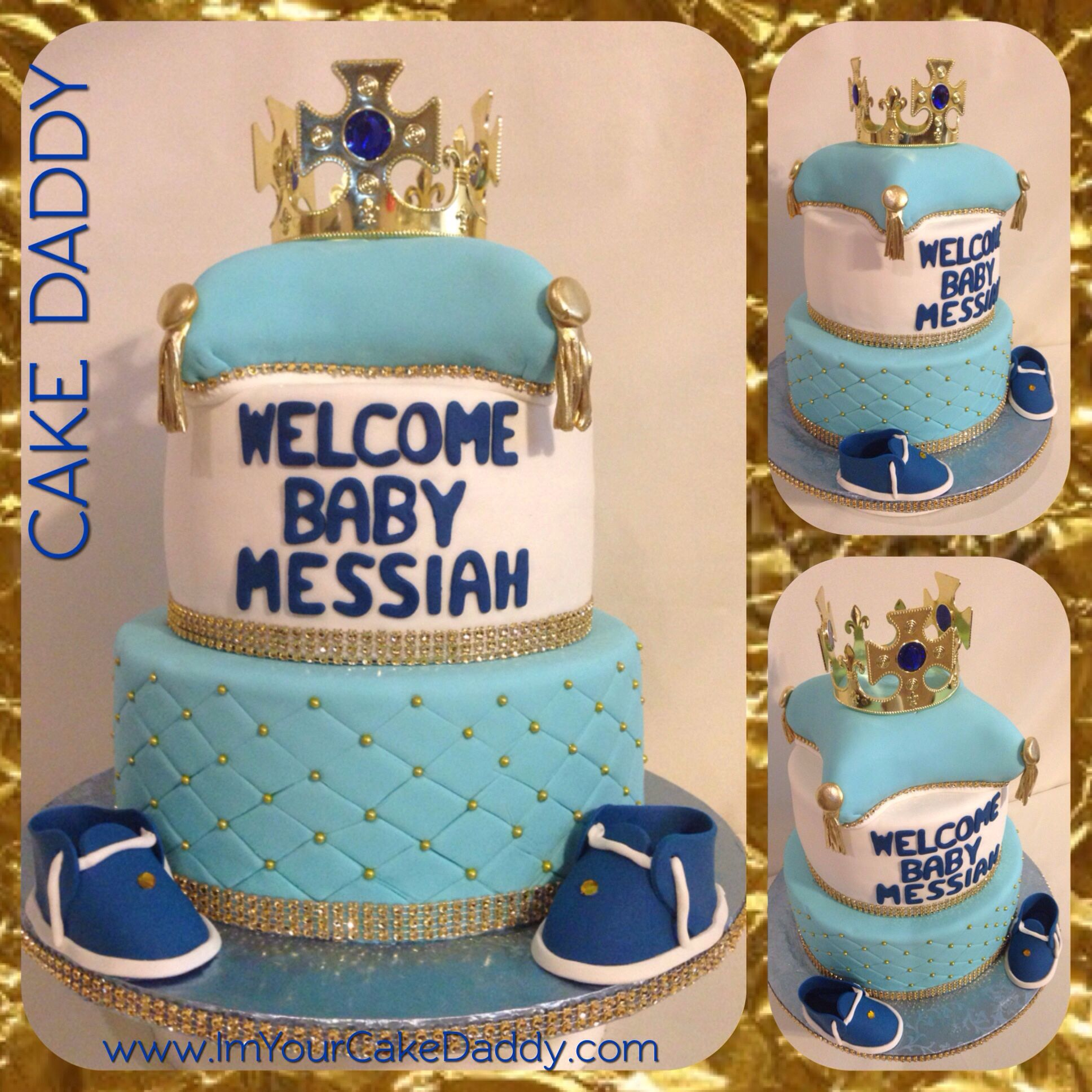 Prince themed baby shower cake