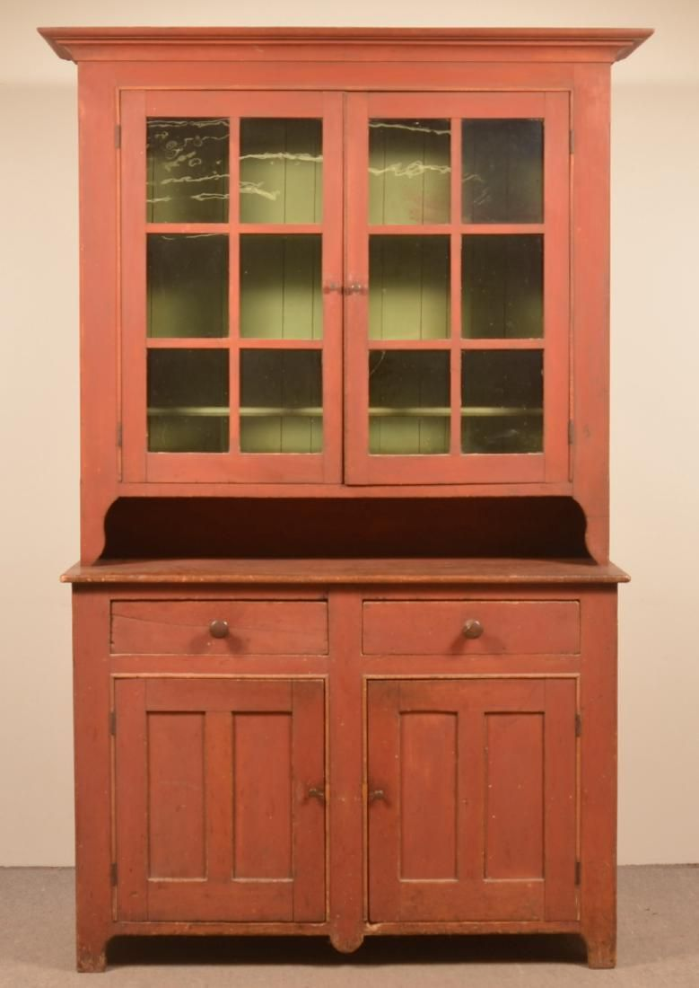 Pennsylvania 19th Century Softwood Two Part Dutch Cupboard Old Red Paint Cove Molded Cornice Two 6 Pane Glazed Upper Softwood Cupboard Walnut China Cabinets