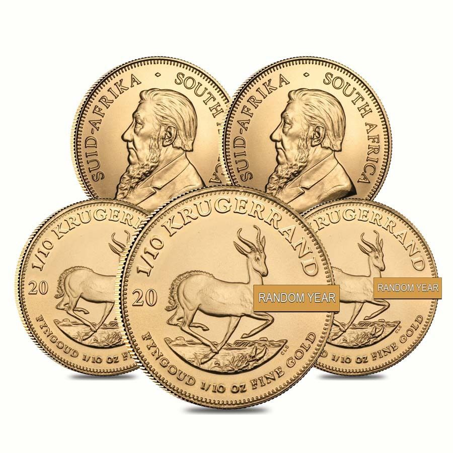 Lot Of 5 1 10 Oz South African Krugerrand Gold Coin Random Year Gold Coins Coins South African