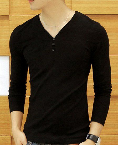 9a3129c94 Solid Color Button Design V-Neck Long Sleeve Slimming Fashion Polyester  T-Shirt For Men