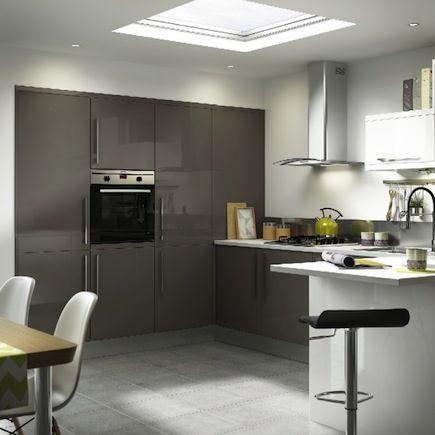 Santini Gloss Anthracite Slab, Kitchen Cabinet Doors U0026 Fronts, Kitchens Bu0026q