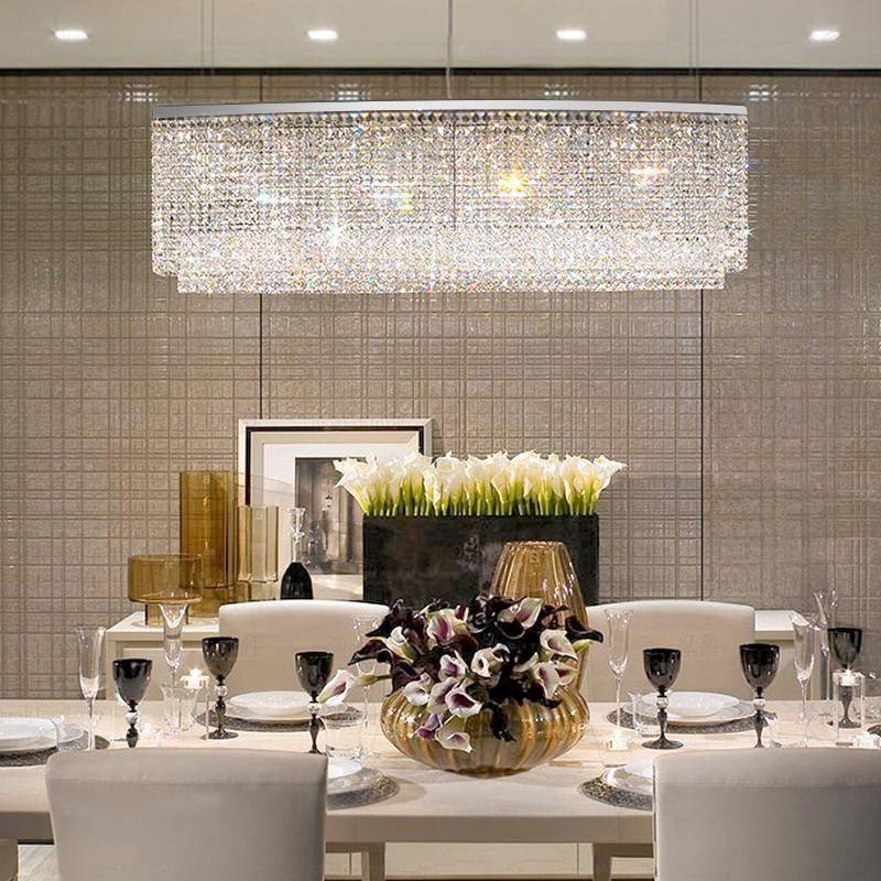 Rectangular Raindrop Crystal Pendant Light In 2020 Dining