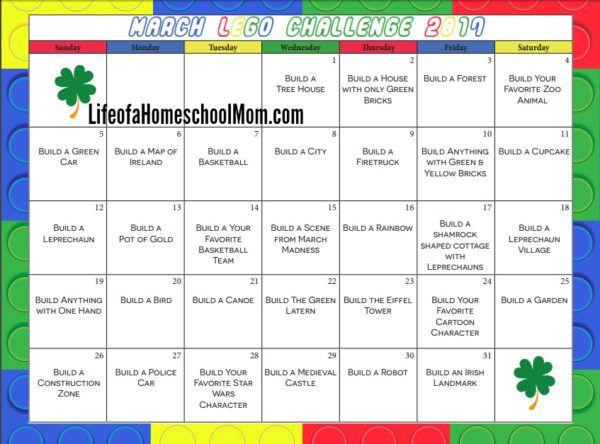 Free Printable 31 Day Lego Challenge Calendar Lego Challenge Lego
