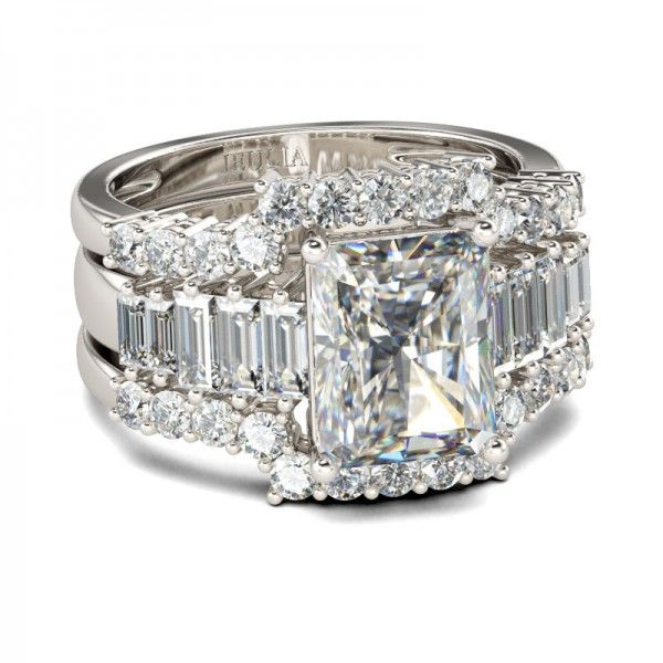 3PC Emerald Cut Created White Sapphire Rhodium Plating Sterling Silver Women's Ring