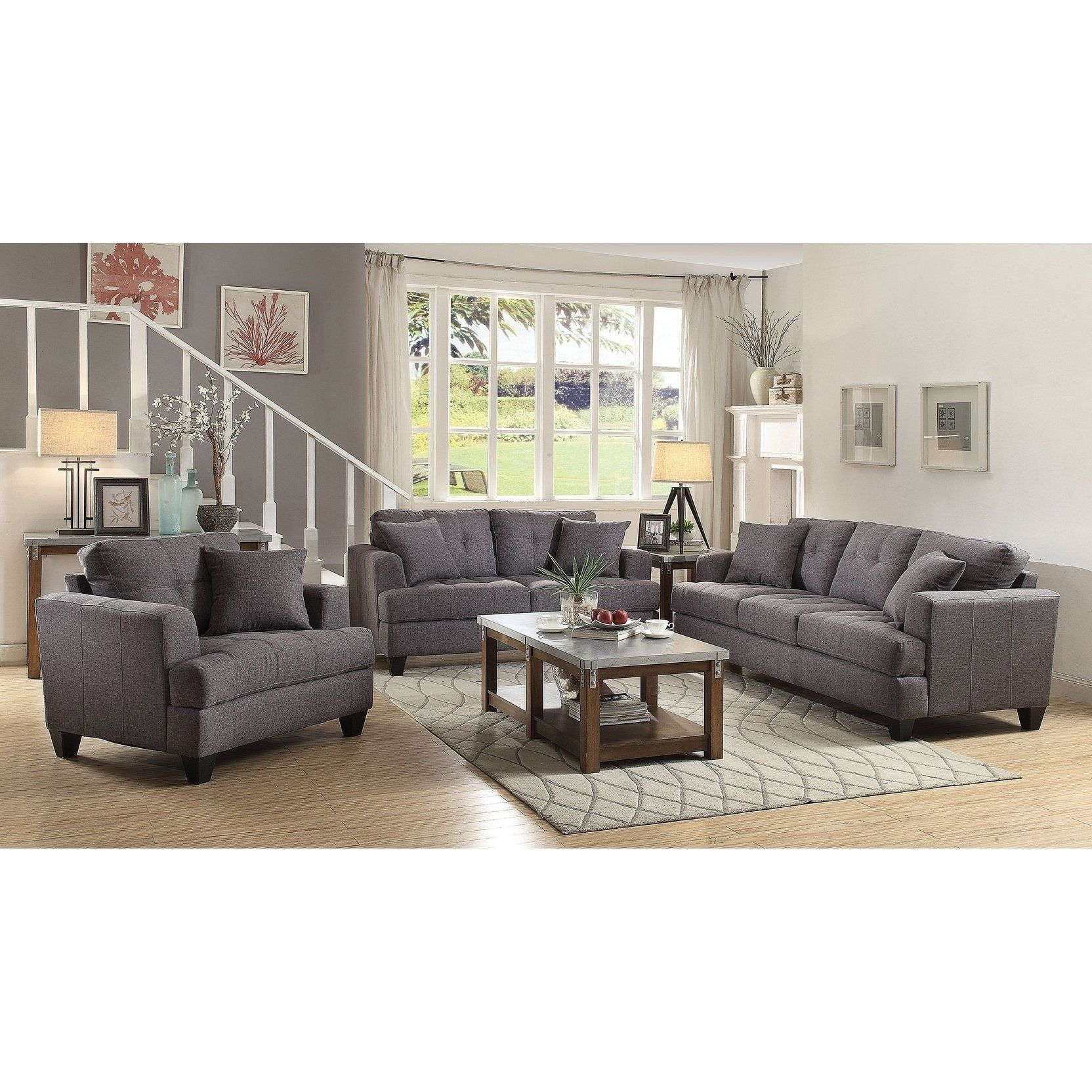 Best Ashton Charcoal 3 Piece Living Room Set Brown In 2020 400 x 300