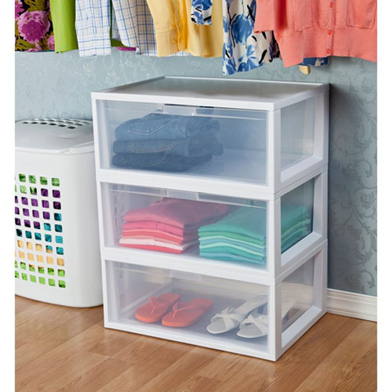 3 Sterilite Large Tall Modular Stacking Storage Drawer Clear Containers