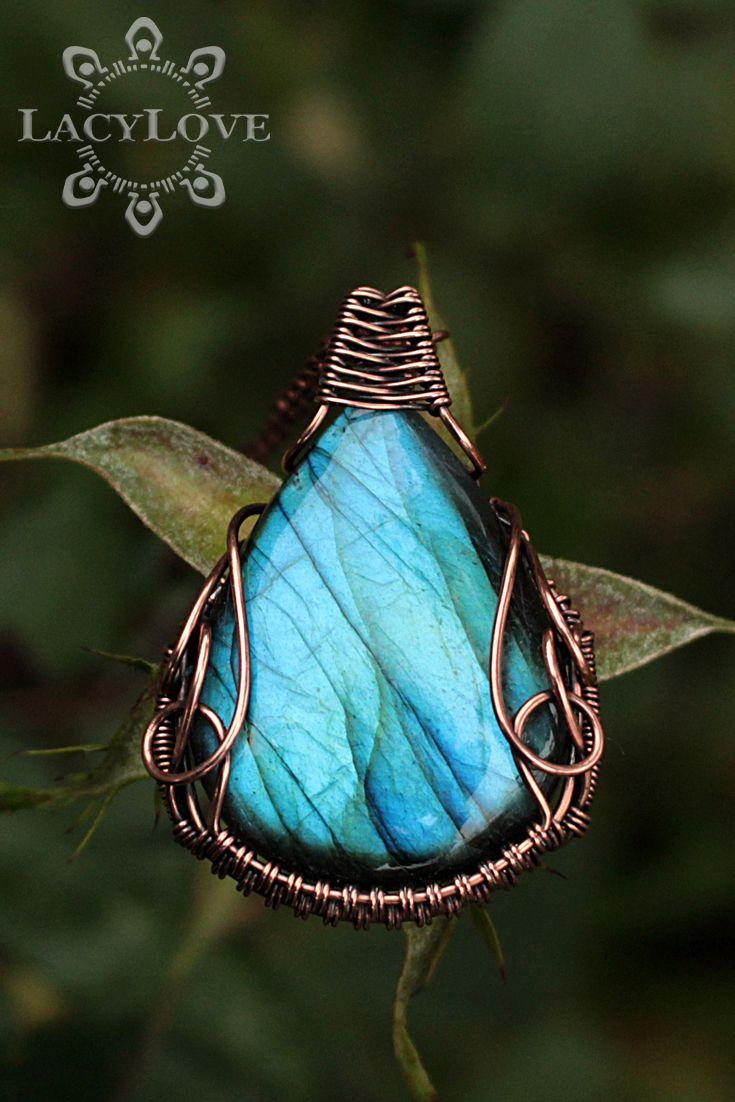 Wire wrapped copper pendant with natural labradorite stone ...
