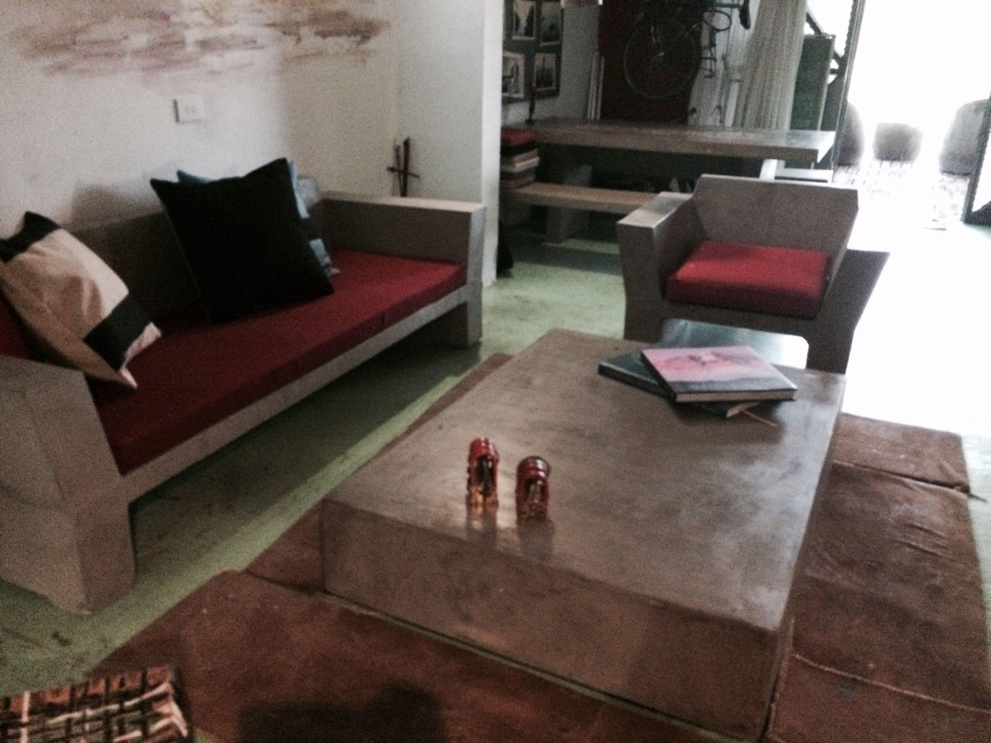 Set Living Muebles En Cemento Liviano Estilo Ribera 5 Set  # Muebles Cemento Liviano