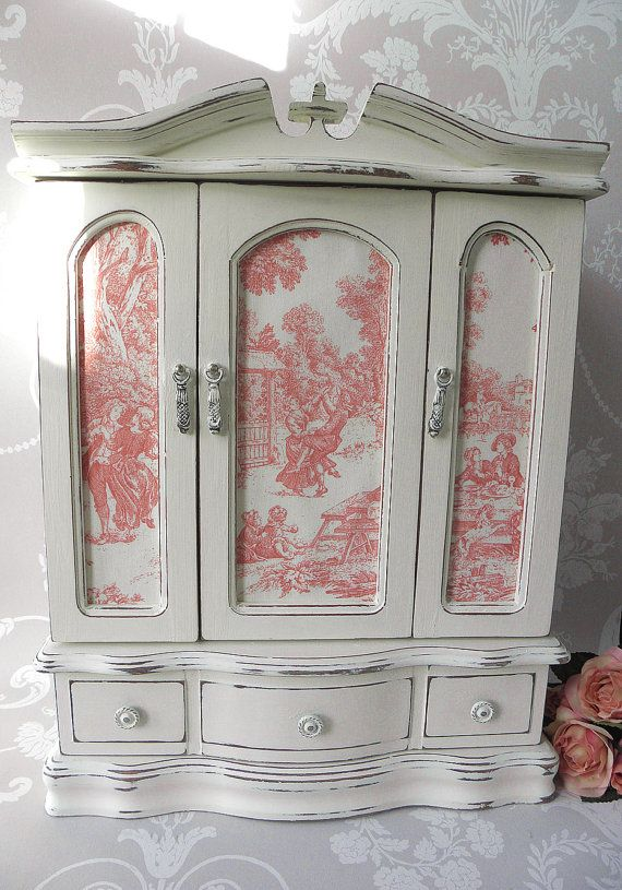 Very Large Vintage Painted Jewellery Box Armoire With