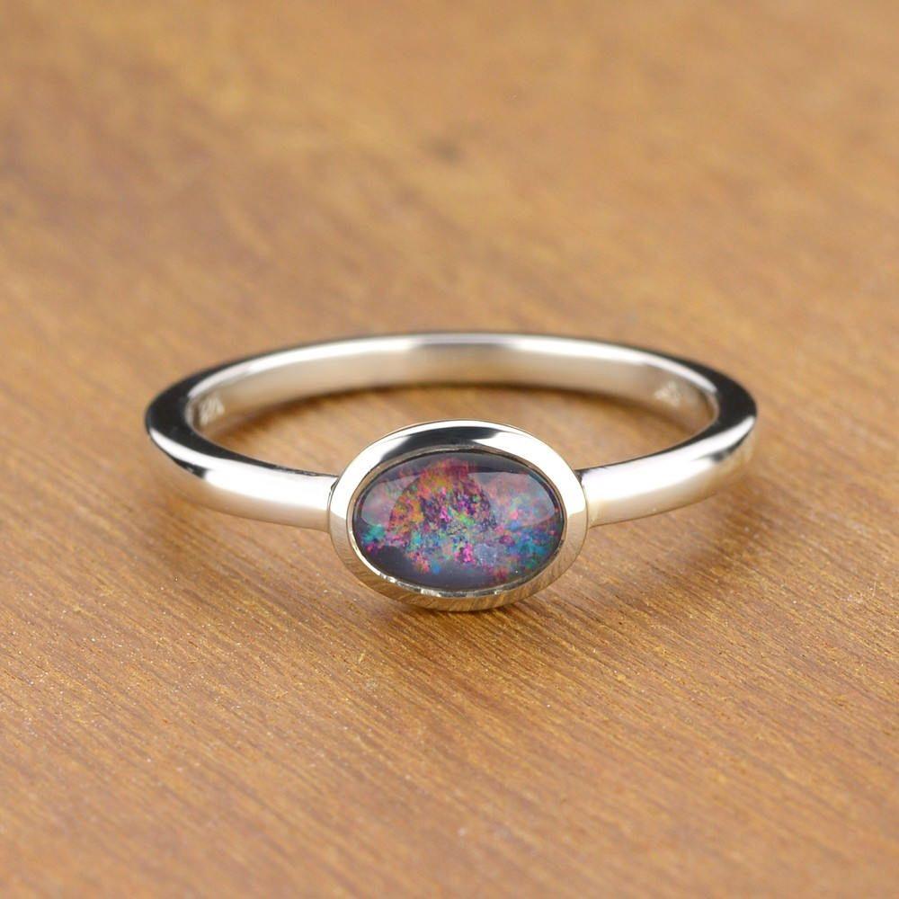 Australian Black Opal Ring In 925 Sterling Silver Natural Etsy Black Opal Ring Black Opal Engagement Ring Engagement Rings Opal