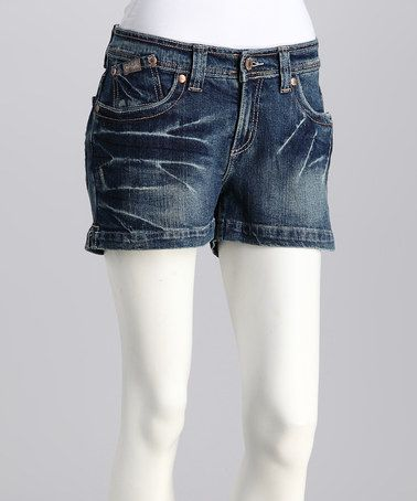 Take a look at this Indigo Leslie Stretch Denim Shorts by Cruel Girl on #zulily today!