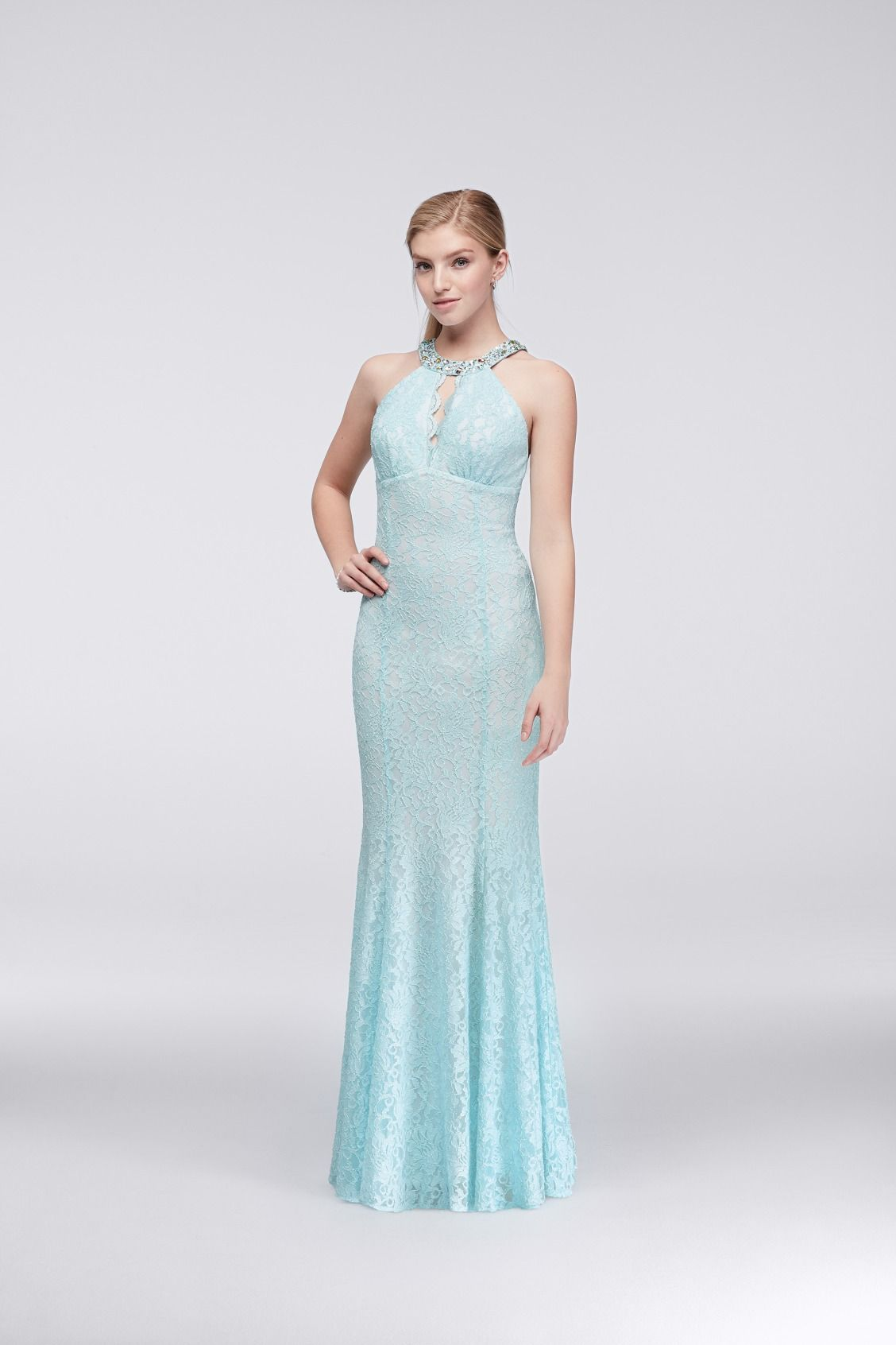 Aqua Lace Keyhole Mermaid Prom Dress with Jeweled Neckline from ...