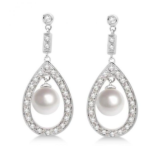 Allurez 14kt White Gold Round Pearl & Diamond Dangling Earrings KIXS3