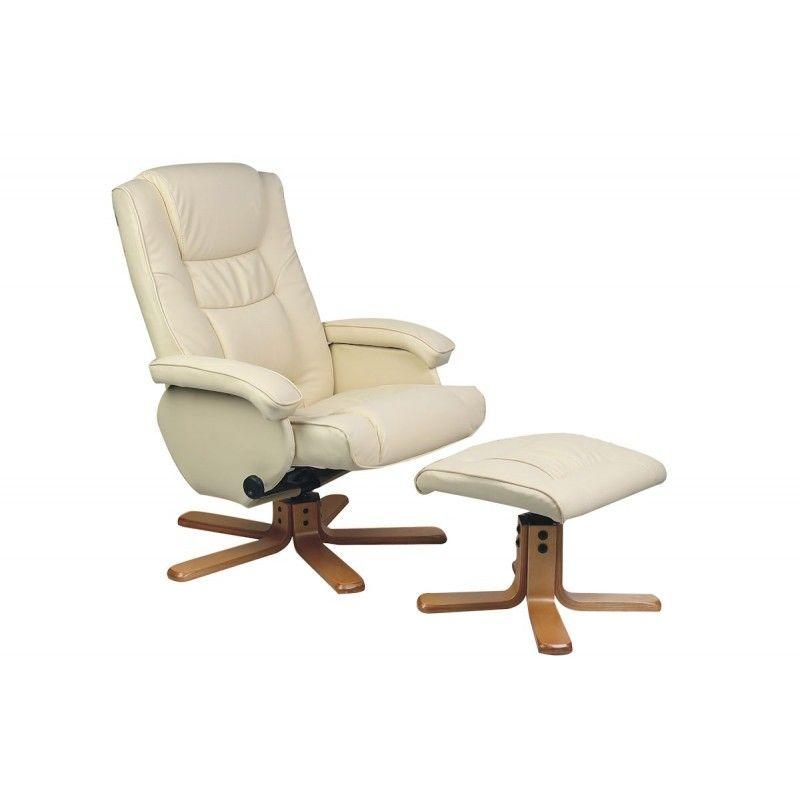 Nevada Cream Faux Leather Reclining Swivel Chair And Footstool Chair Swivel Chair Recliner