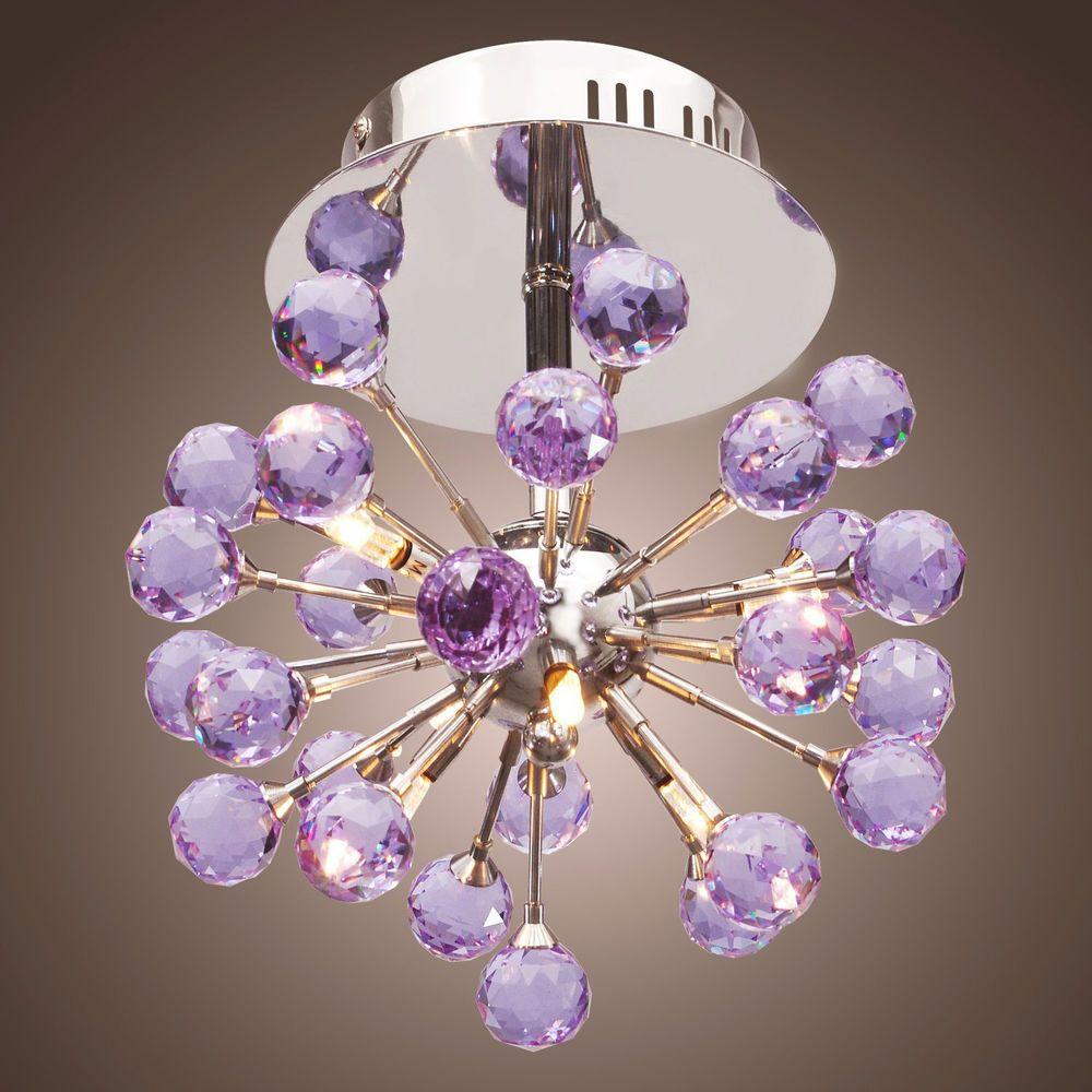 Modern 6 Light Crystal Semi Flush Mount Chandelier Ceiling ...