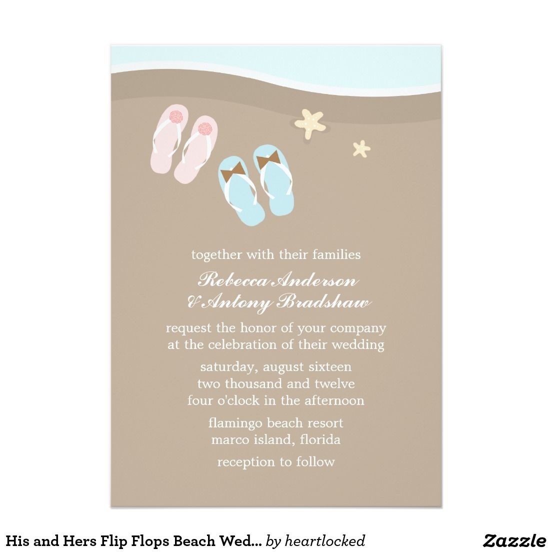 His and Hers Flip Flops Beach Wedding Card | Beach weddings, Wedding ...