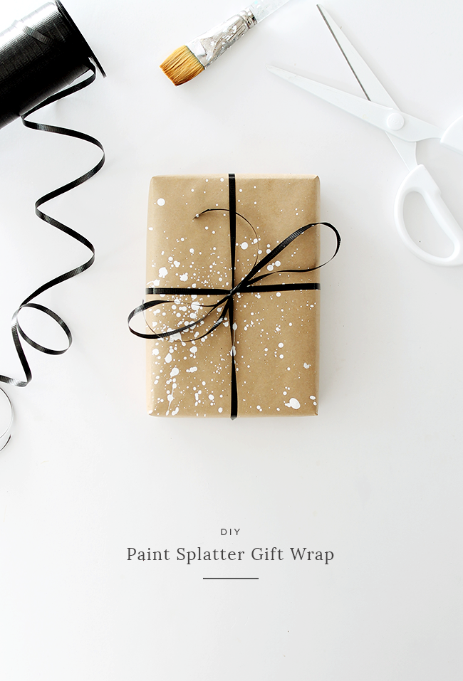 diy paint splatter gift wrap almost