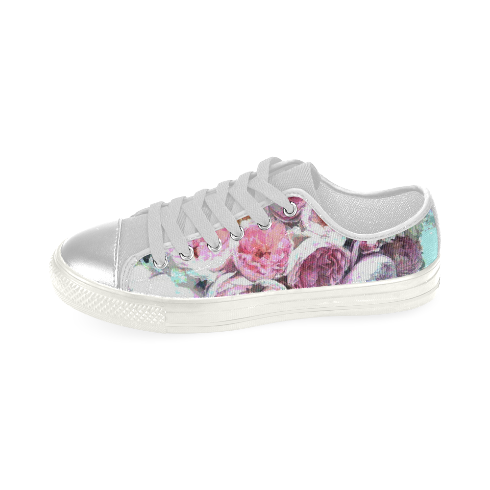 47ef3466e99 Pink Flowers Low Top Loafers Womens Shoes (Model 026)