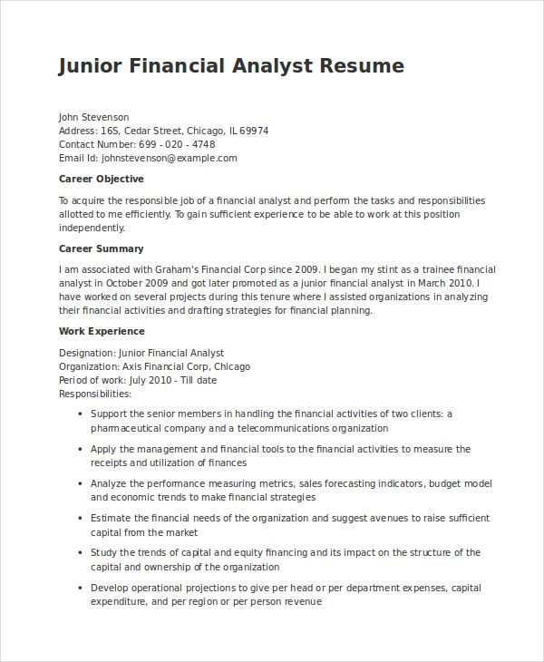 Senior Financial Analyst Resume Financial Analyst Resume Pdf Word Documents Download Free Sample